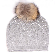 Load image into Gallery viewer, Cashmere Blend Crystal & Pom Pom Beanie Hat