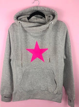 Load image into Gallery viewer, Neon Marl Pink Star Cotton Hoodie