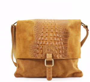 Sarah Leather Snakeskin Messenger Bag