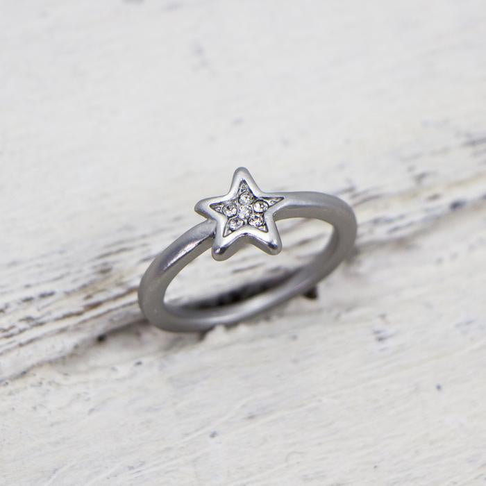 Silver Crystal Star Ring