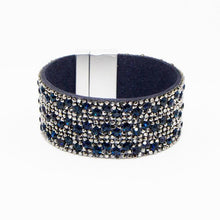 Load image into Gallery viewer, Navy and Silver Crystal Encrusted Cuff