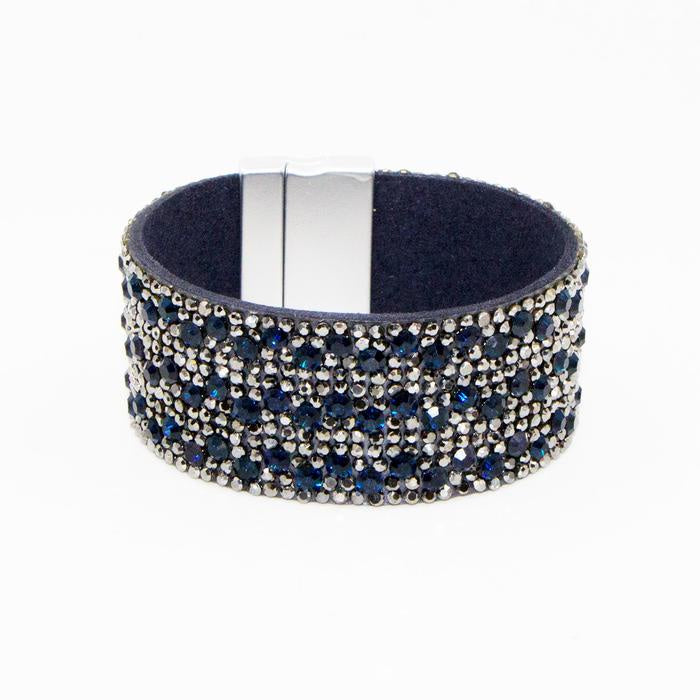 Navy and Silver Crystal Encrusted Cuff