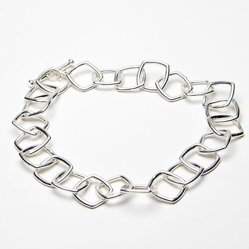Silver Square Chain Link Necklace