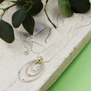 Long Silver & Gold Oval Pendant Necklace