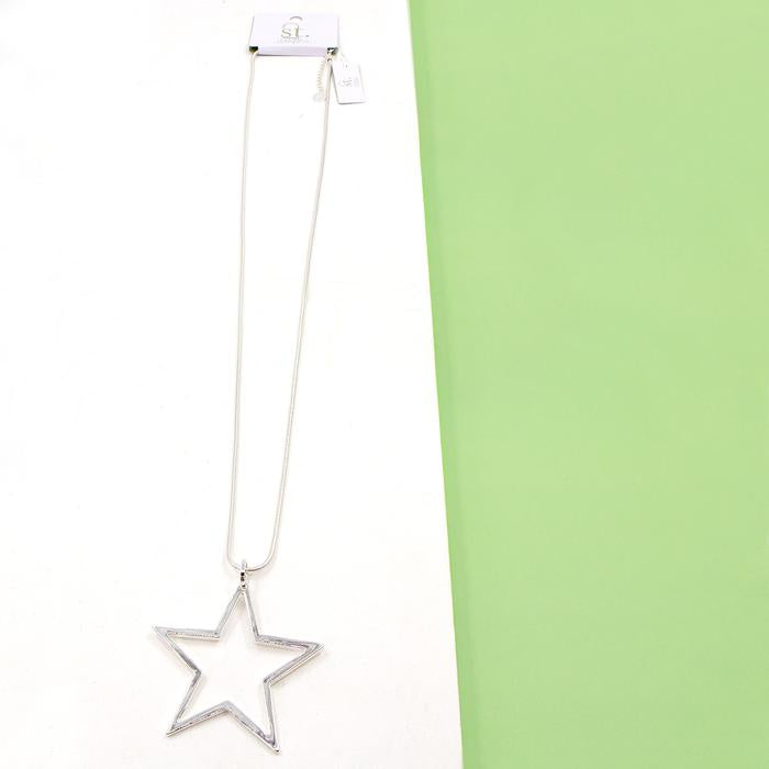 Silver Open Star Pendant Necklace