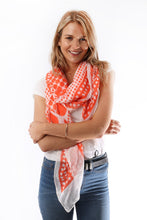 Load image into Gallery viewer, Orange and White Spot Scarf