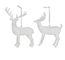 Load image into Gallery viewer, White Iridescent Reindeer Christmas Tree Decoration