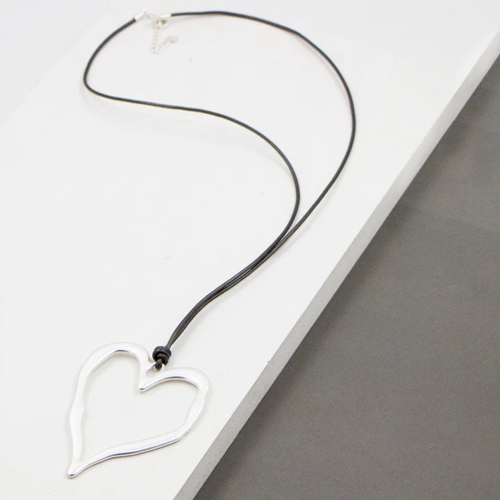 Silver Heart & Leather Necklace