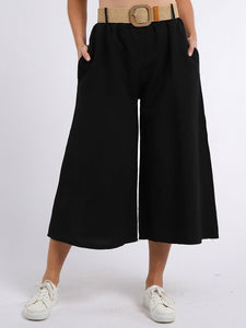 Cindy Belted Linen & Cotton Palazzo Trousers