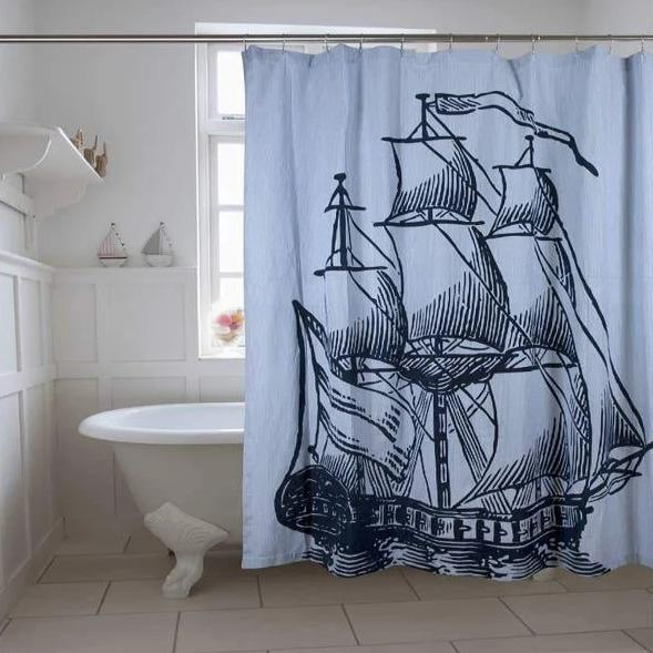 Ship Seersucker Shower Curtain