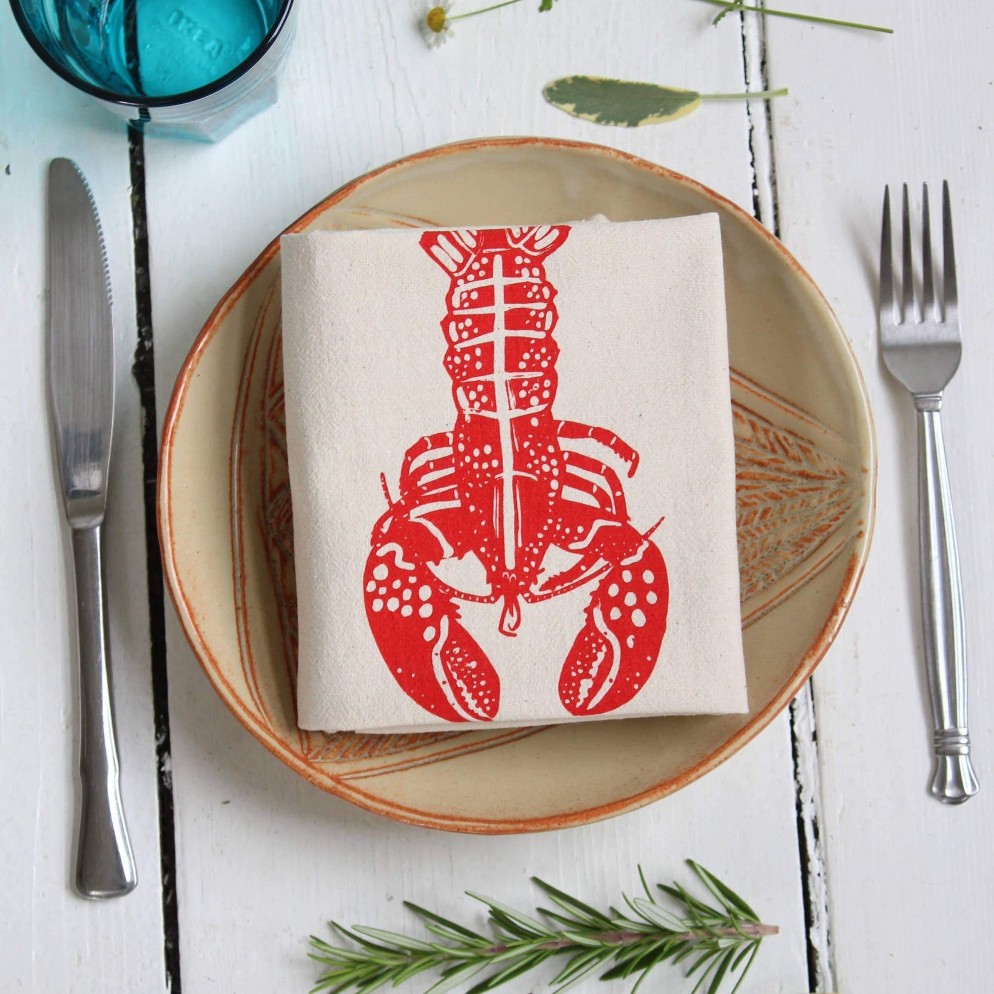 Hearth and Harrow - Set of 4 Organic Lobster Cloth Napkins (Red)