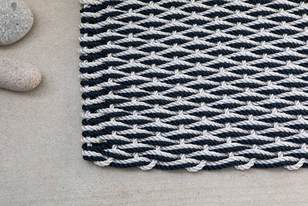 The Rope Co. - Fog Gray and Navy Doormat