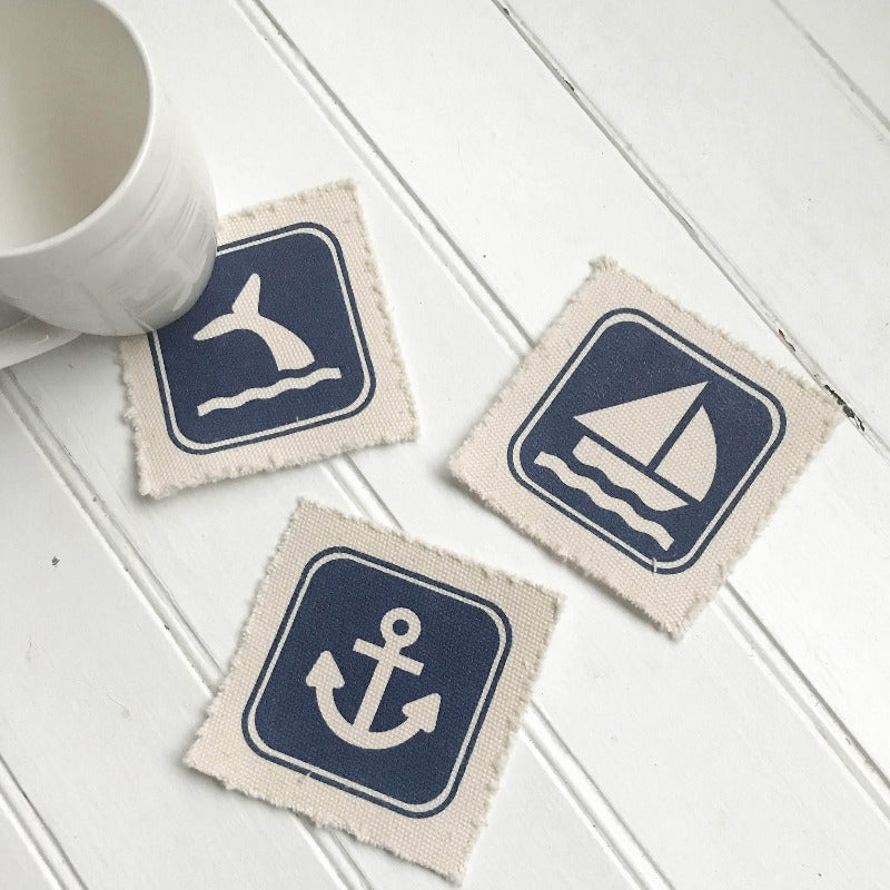 Nautical Canvas Coaster Set