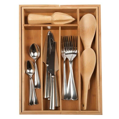 Bamboo Expandable Flatware Tray Md