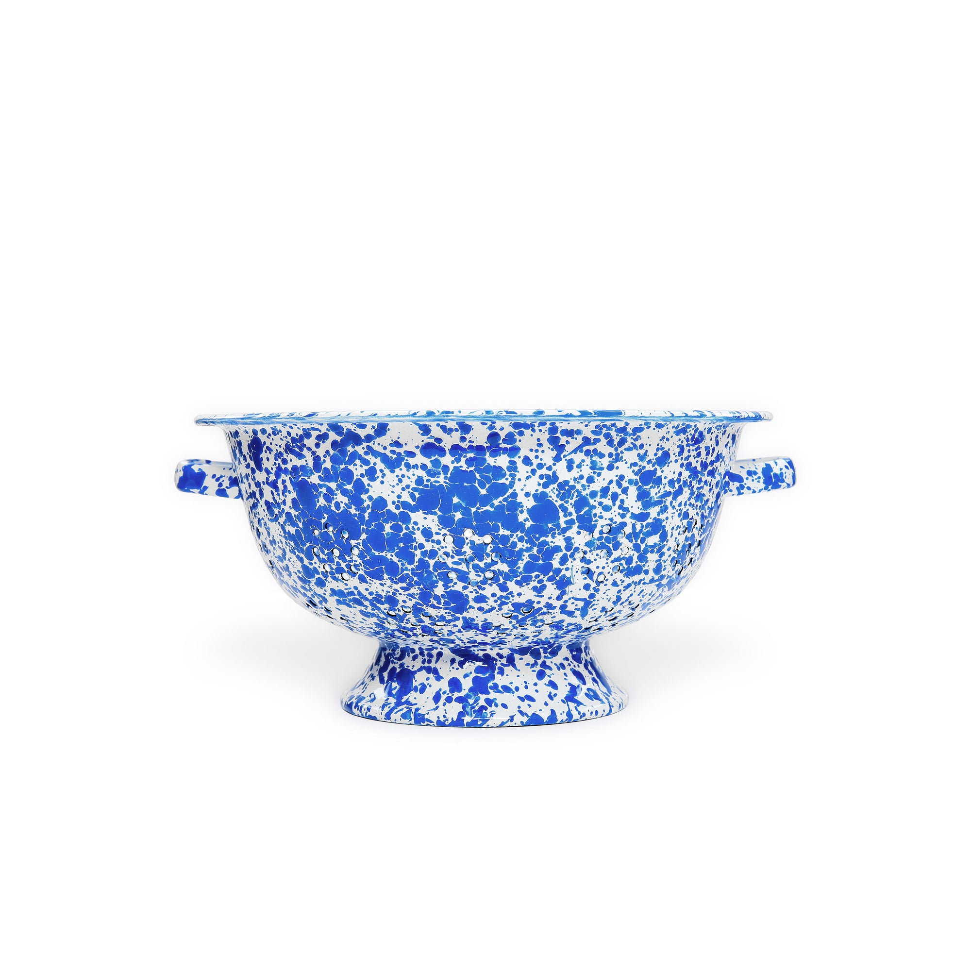 Splatterware - Large Colander Blue