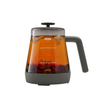 brew tea steeper with mug top dispensing