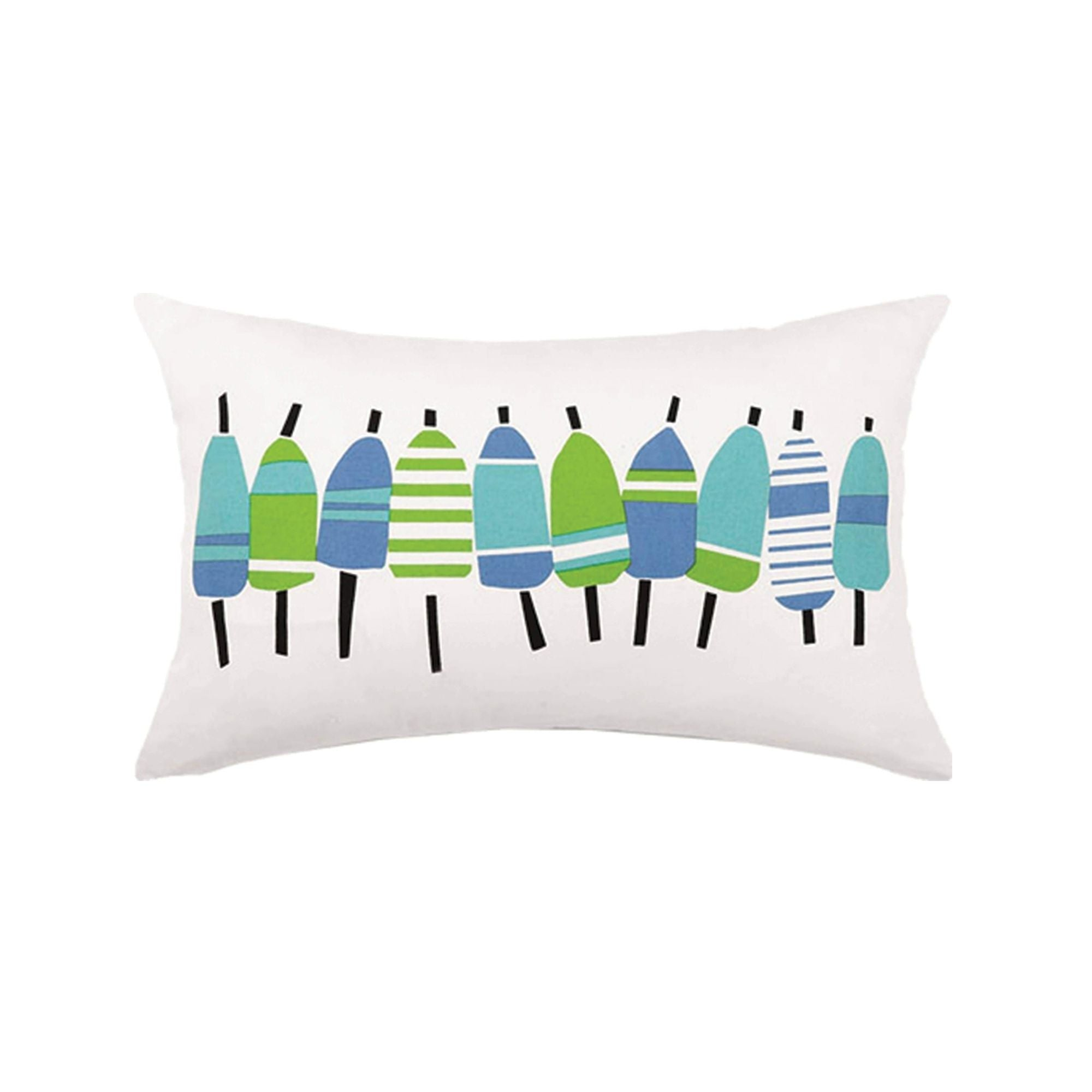 Buoys Printed Pillow Blue