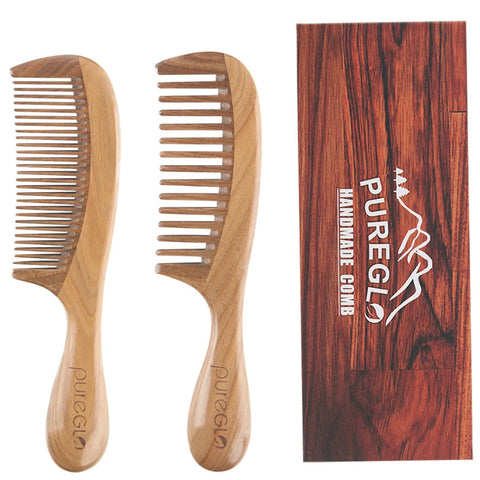 Wide & Fine Tooth Natural Wooden Comb 2 Packs