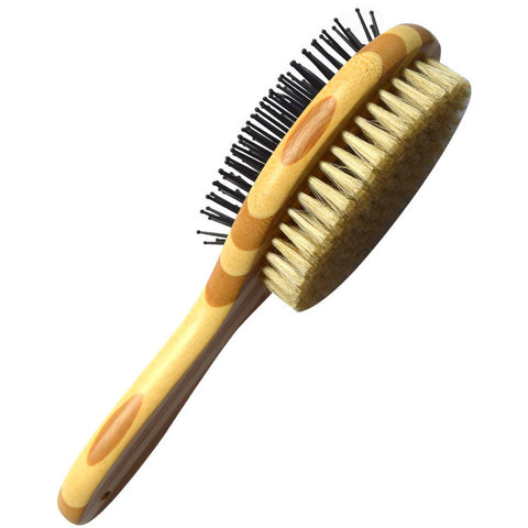 Bamboo Boar Bristles Clean Grooming Double Sided Pet Brush