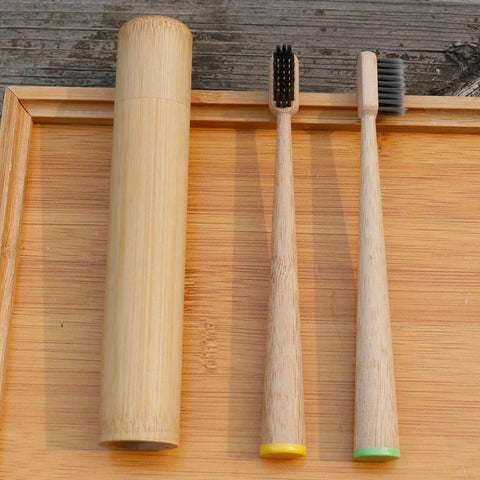 Big Cone Natural Bamboo Charcoal Toothbrush With Bamboo Tube