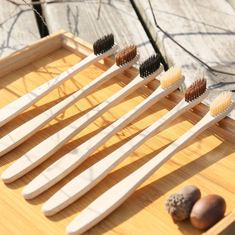 Biodegradable Charcoal Natural Soft Bamboo Toothbrushes 5 Packs