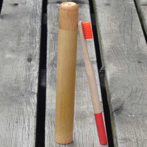 Color Natural Bamboo Wood Toothbrush With Bamboo Tube