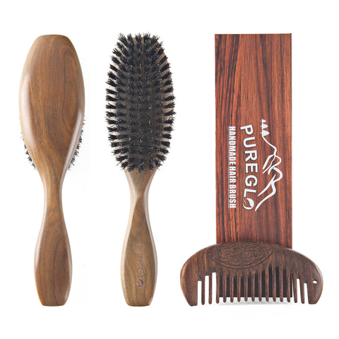 Green Sandalwood Boar Bristle Hair Brush Set