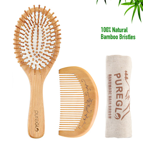 Natural Bamboo Hairbrush and Mini Travel Comb Set