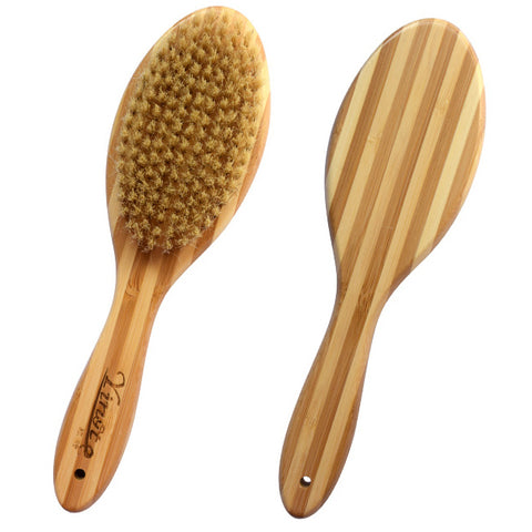Natural Bamboo Boar Bristles Clean Grooming Pet Brush