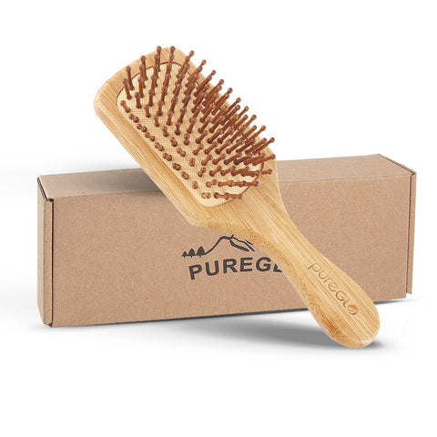Natural Bamboo Paddle Hair Brush Square Small