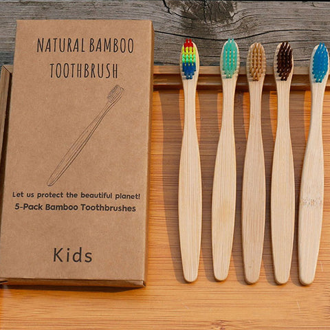 Natural Bamboo Soft Home Health Toothbrush 5 Packs For Kids
