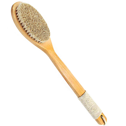 Natural Wooden Long Handle Horsehair Bath Brush