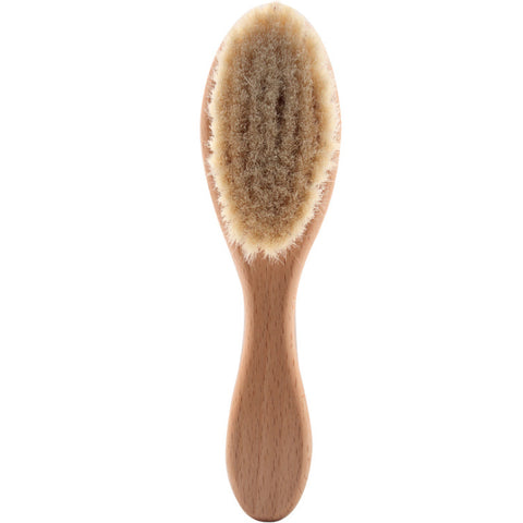 Natural Wooden Soft Wool Beard Brush