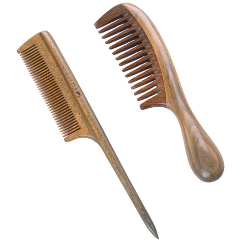 Natural Wooden Fine-tooth And Wide Tooth Hair Comb Set