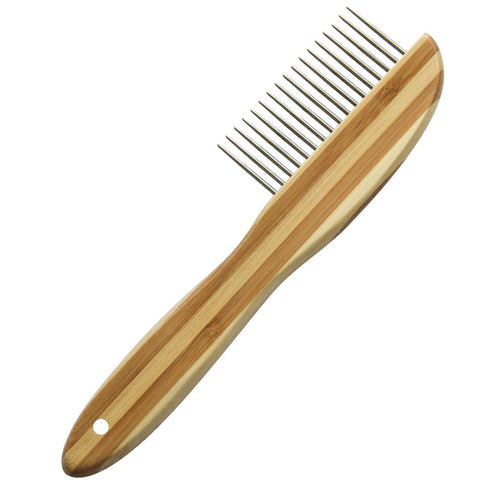 Stainless Steel Long-tooth Bamboo Pet Comb Dog Grooming Brush