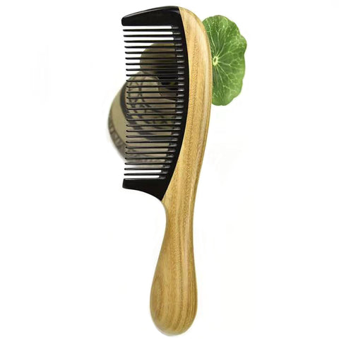 Wooden No-static Fine Tooth Horn Hair Comb