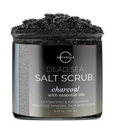 O Naturals Activated Charcoal Dead Sea Salt Scrub is designed to detoxify and exfoliate your skin.