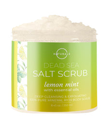 Designed for all skin types, O Naturals Lemon & Mint Dead Sea Salt Scrub can be used as a face scrub, hand scrub, or body scrub.
