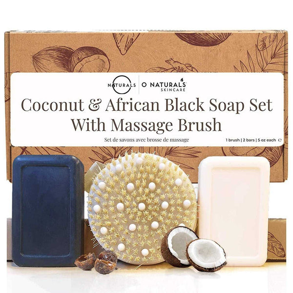 Dry Brush With African Black Soap & Coconut Shea Bar Soap Set - O Naturals