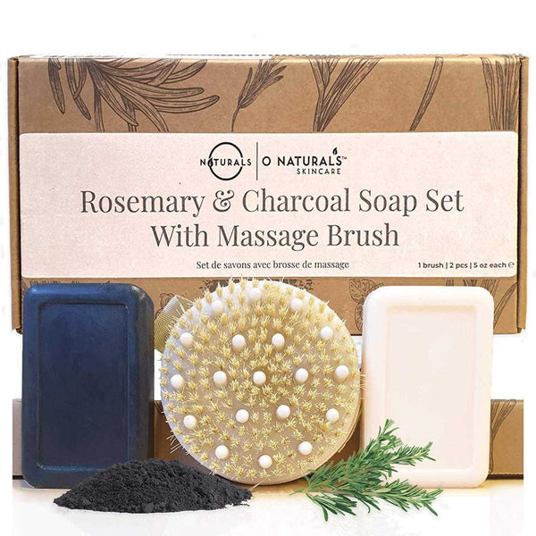 Dry Brush With Activated Charcoal & Rosemary Peppermint Soap Set - O Naturals