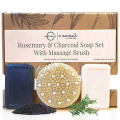 O Naturals Dry Brush With Activated Charcoal & Rosemary Peppermint Soap Set