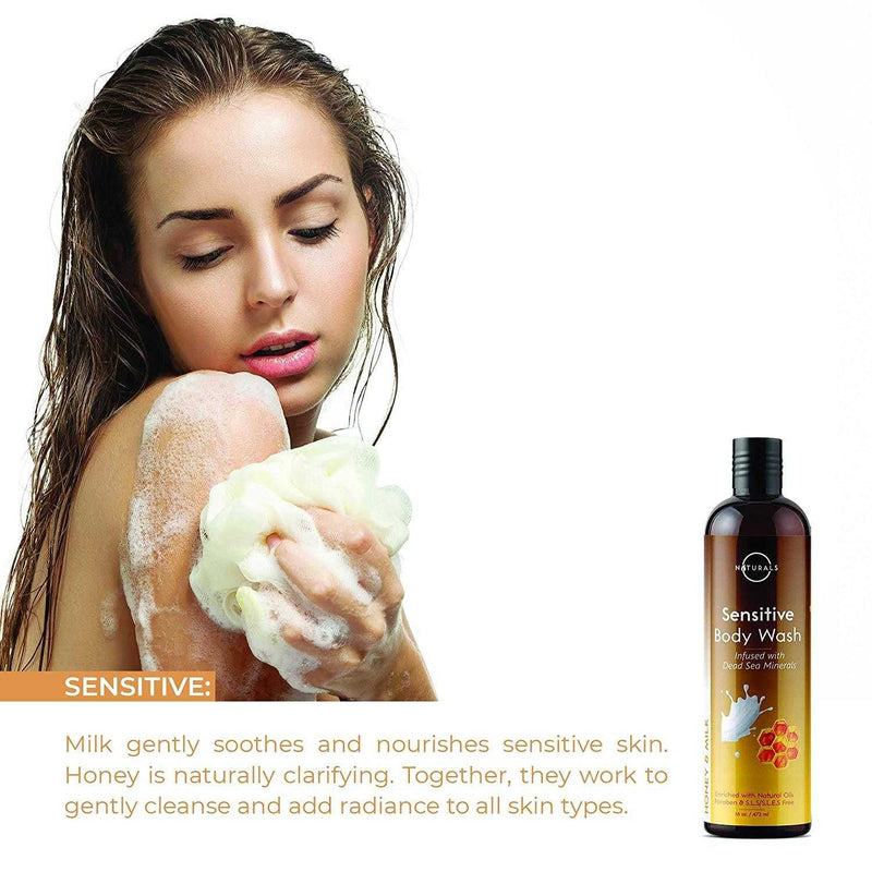 Sensitive Natural Honey & Milk Natural Body Wash - O Naturals