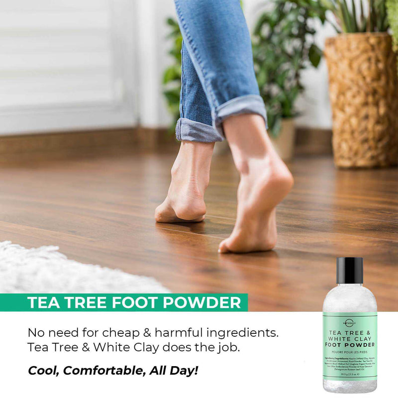 Antifungal Tea Tree & White Clay Natural Foot Powder - O Naturals