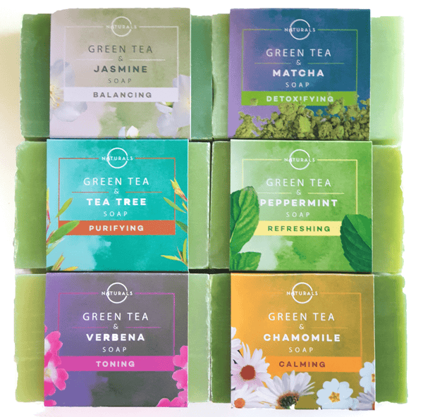O Naturals Green Tea Bar Soap Collection 6-Pieces 4 oz Each