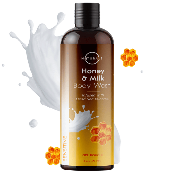 O Naturals Milk & Honey Natural Body Wash (16 oz) Sensitive Skin Formula. Soothes Acne, Eczema, Psoriasis. Pore Refining & Brightening. Dead Sea Minerals & Vitamin E Enriched Soap. No Parabens & SLS