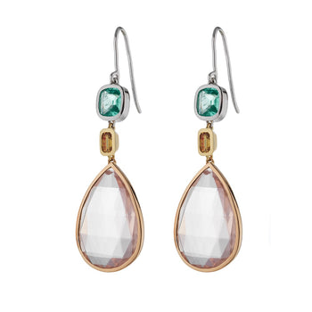 "The ""Sloane"" Emerald, Yellow Sapphire & Rose Quartz Drop Earrings"