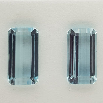 19.66ct Pair of Octagon Cut Aquamarines 17x9mm