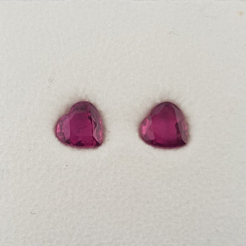 0.98ct Pair of Heart Shape Rubies 4.6x4.6mm