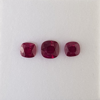 2.37ct Set of 3 Cushion Cut Rubies