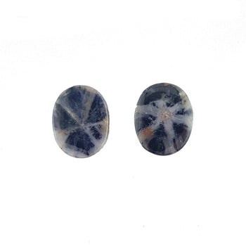 Pair of 10x11mm Oval Cabochon Trapiche Sapphires